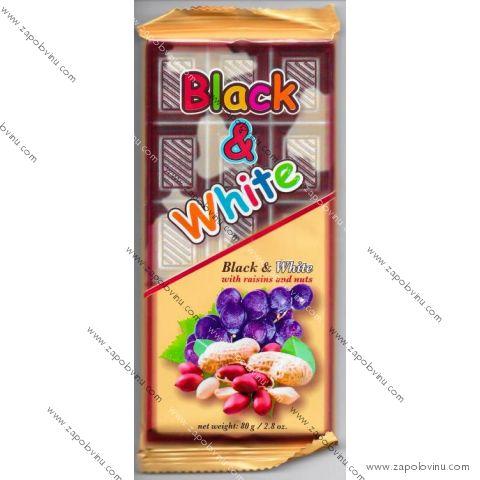 Chocomoco BLACK+WHITE ROZINKY S ARAŠÍDY 80g